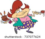 cartoon woman who is happily... | Shutterstock .eps vector #737077624