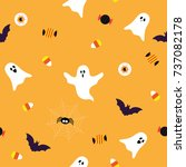 halloween elements seamless... | Shutterstock .eps vector #737082178