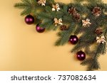 christmas background with fir... | Shutterstock . vector #737082634