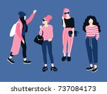 fashionable young women in... | Shutterstock .eps vector #737084173