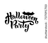 happy halloween party lettering ... | Shutterstock .eps vector #737091703