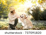 girl with dog   Shutterstock . vector #737091820