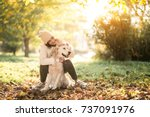girl with dog   Shutterstock . vector #737091976