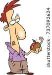 cartoon man in contemplation... | Shutterstock .eps vector #737092624