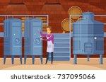 wine production equipment in... | Shutterstock .eps vector #737095066