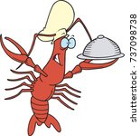 cartoon chef crawfish holding... | Shutterstock .eps vector #737098738