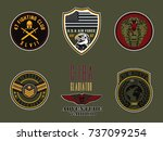set of army badge typography  t ... | Shutterstock .eps vector #737099254
