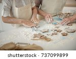 girl and old woman making shape ... | Shutterstock . vector #737099899