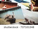 printed photos. girl power... | Shutterstock . vector #737101348