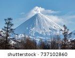 winter volcanic landscape of...   Shutterstock . vector #737102860