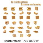 a set of cardboard boxes.... | Shutterstock .eps vector #737103949