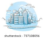 colorful city view with office... | Shutterstock .eps vector #737108056