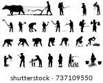 silhouette farmer shape vector... | Shutterstock .eps vector #737109550