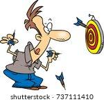 cartoon man throwing darts at a ...