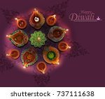 colorful diya during diwali... | Shutterstock . vector #737111638