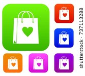 shopping bag set icon color in... | Shutterstock .eps vector #737113288