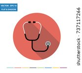 stethoscope flat icon with long ... | Shutterstock .eps vector #737117266