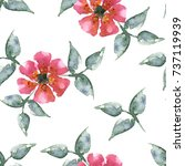seamless watercolor flowers... | Shutterstock . vector #737119939