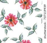 seamless watercolor flowers... | Shutterstock . vector #737119939