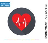 heartbeat flat icon with long... | Shutterstock .eps vector #737120113