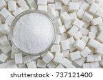 granulated sugar in jar on... | Shutterstock . vector #737121400