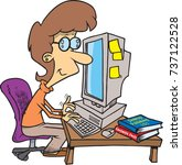 cartoon woman working on a... | Shutterstock .eps vector #737122528