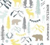 forest seamless pattern. wild... | Shutterstock .eps vector #737123638