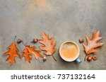 autumn composition with cup of...   Shutterstock . vector #737132164