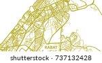 detailed vector map of rabat in ... | Shutterstock .eps vector #737132428