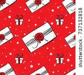 seamless pattern with gifts.... | Shutterstock . vector #737132818