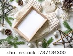 christmas cozy composition with ... | Shutterstock . vector #737134300