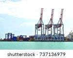 cranes in port | Shutterstock . vector #737136979