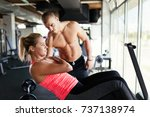 beautiful girl working out with ... | Shutterstock . vector #737138974