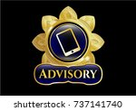 gold emblem with mobile phone... | Shutterstock .eps vector #737141740