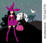 illustration of witch with... | Shutterstock . vector #737141770