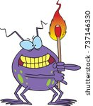 cartoon bug holding a lit match | Shutterstock .eps vector #737146330