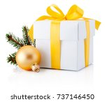 white gift box tied yellow...