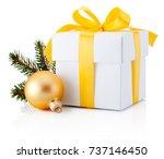 white gift box tied yellow...