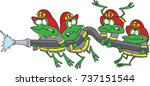 cartoon frog fire fighters... | Shutterstock .eps vector #737151544