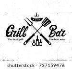 vintage grill bar logo design ...   Shutterstock .eps vector #737159476