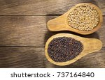 seeds of yellow and black... | Shutterstock . vector #737164840