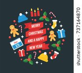 christmas and new year vector... | Shutterstock .eps vector #737164870