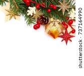 christmas background border on... | Shutterstock . vector #737164990