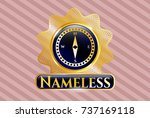 golden badge with compass icon ... | Shutterstock .eps vector #737169118
