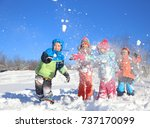 group of children playing on... | Shutterstock . vector #737170099