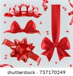 decorations. red bows. 3d set... | Shutterstock .eps vector #737170249