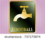 golden badge with tap icon and ... | Shutterstock .eps vector #737175874