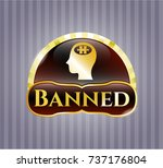 shiny badge with head with... | Shutterstock .eps vector #737176804