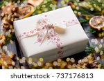 christmas gift on the antique... | Shutterstock . vector #737176813