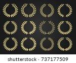 twelve gold award wreaths...   Shutterstock . vector #737177509